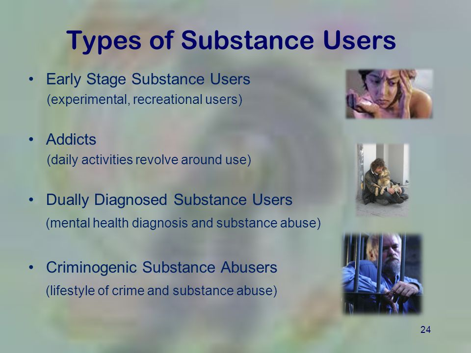 24 Types of Substance Users Early Stage Substance Users (experimental, recreational users) Addicts (daily activities revolve around use) Dually Diagnosed Substance Users (mental health diagnosis and substance abuse) Criminogenic Substance Abusers (lifestyle of crime and substance abuse)