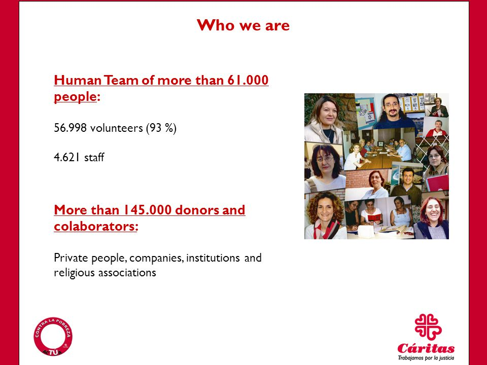 Human Team of more than 61.000 people: 56.998 volunteers (93 %) 4.621 staff Who we are More than 145.000 donors and colaborators: Private people, companies, institutions and religious associations