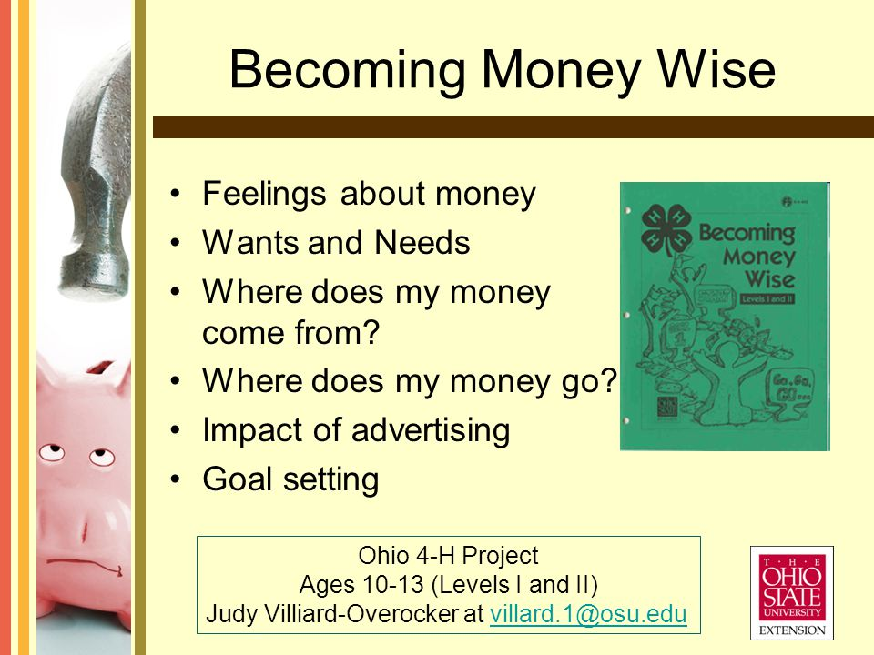 Becoming Money Wise Ohio 4-H Project Ages 10-13 (Levels I and II) Judy Villiard-Overocker at villard.1@osu.eduvillard.1@osu.edu Feelings about money Wants and Needs Where does my money come from.