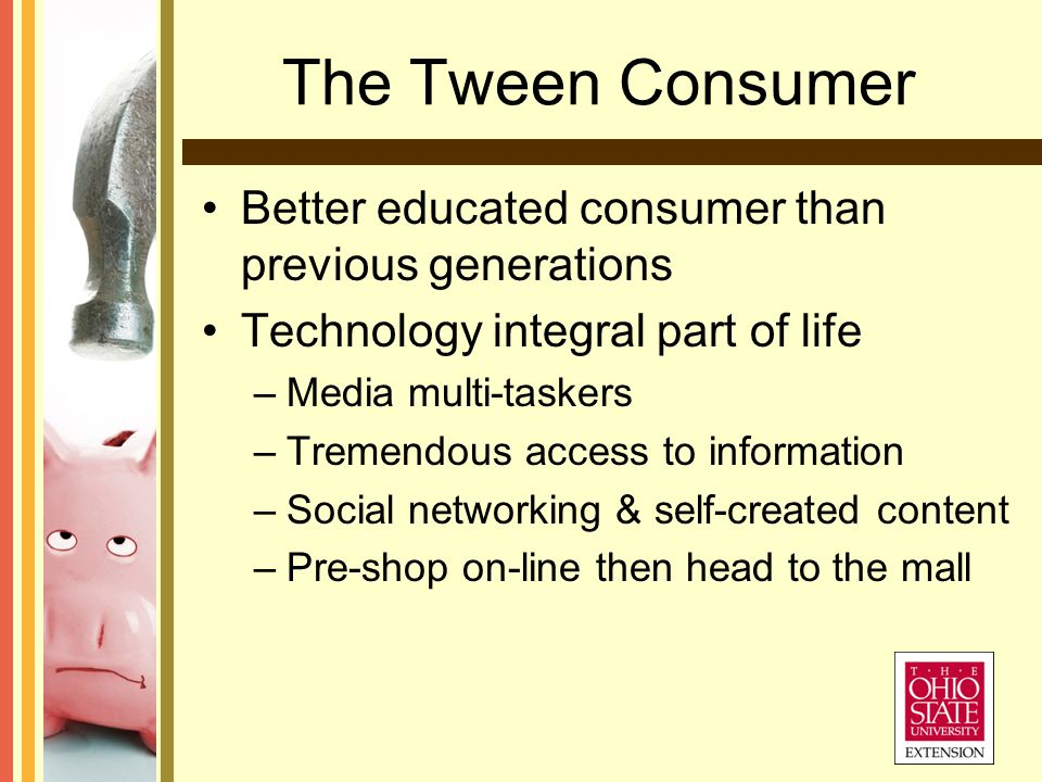 The Tween Consumer Better educated consumer than previous generations Technology integral part of life –Media multi-taskers –Tremendous access to information –Social networking & self-created content –Pre-shop on-line then head to the mall
