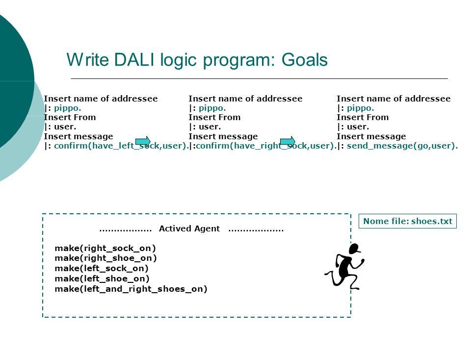 Write DALI logic program: Goals Insert name of addressee  : pippo.