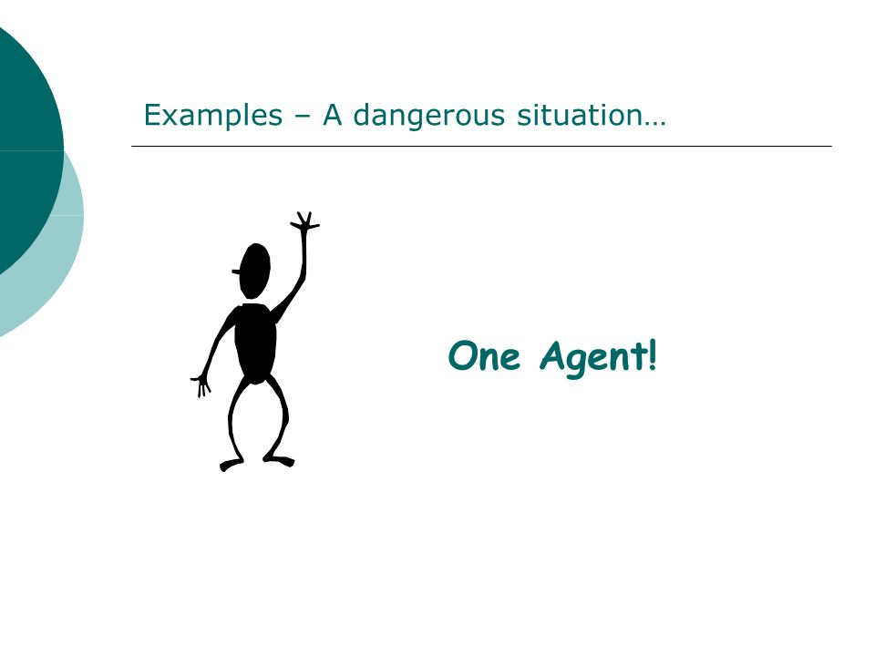 Examples – A dangerous situation… One Agent!