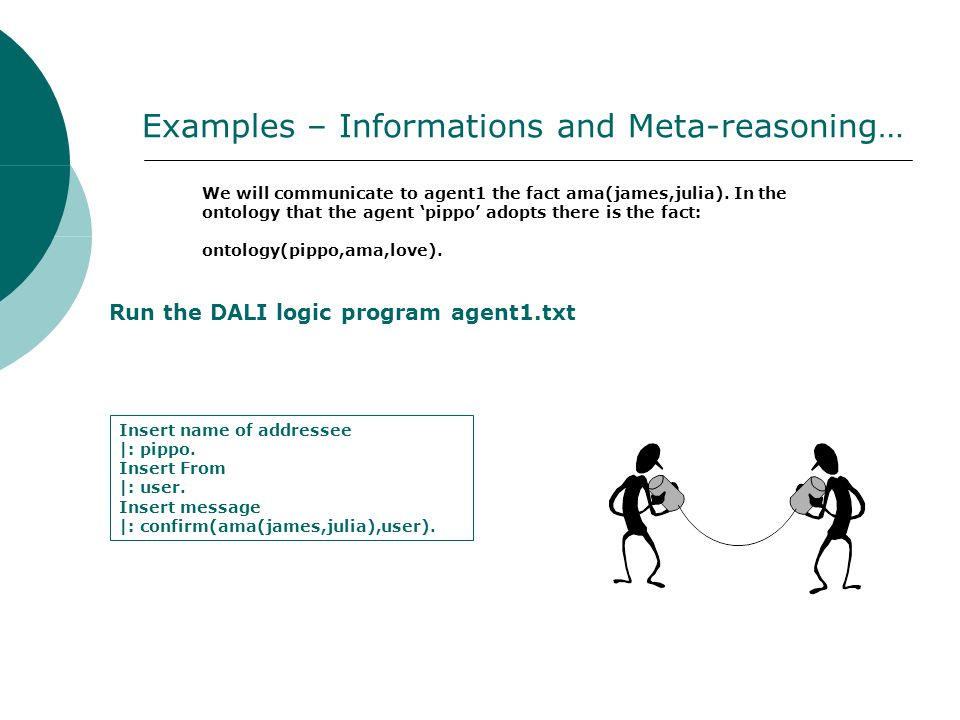 Examples – Informations and Meta-reasoning… We will communicate to agent1 the fact ama(james,julia).