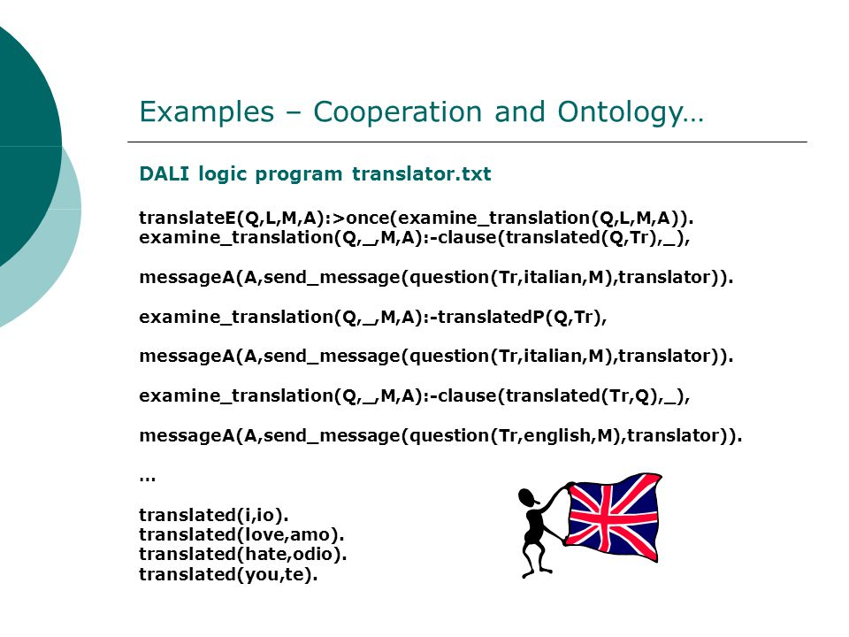 DALI logic program translator.txt translateE(Q,L,M,A):>once(examine_translation(Q,L,M,A)).