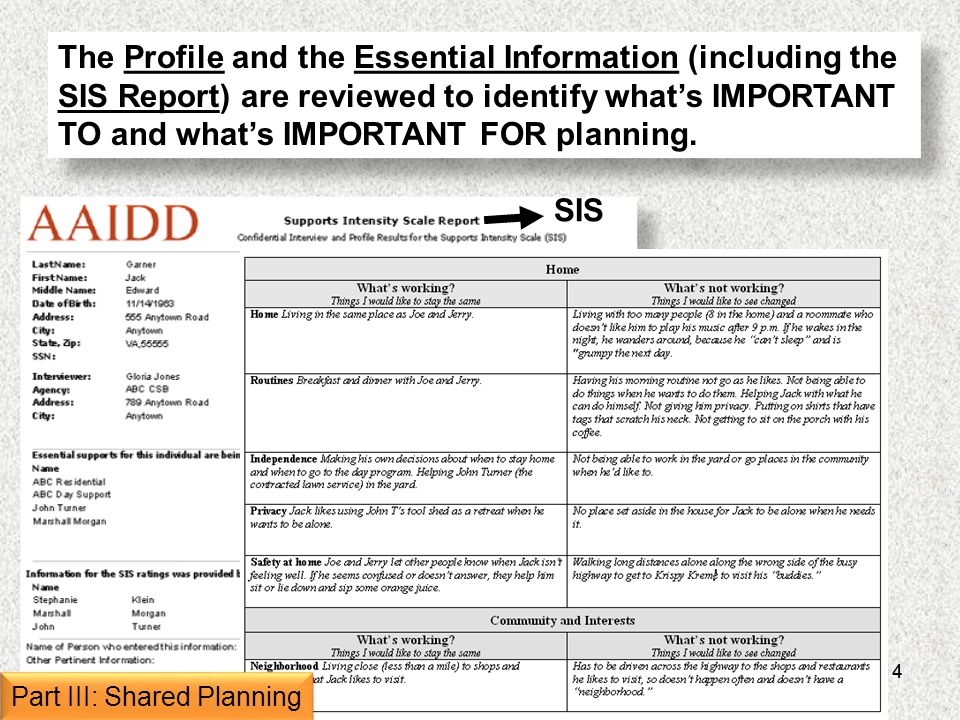 14 The Profile and the Essential Information (including the SIS Report) are reviewed to identify whats IMPORTANT TO and whats IMPORTANT FOR planning.