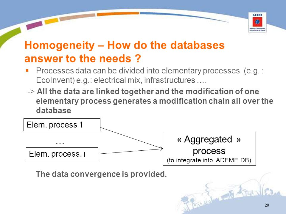 Homogeneity – How do the databases answer to the needs ? Processes data can be divided into elementary processes (e.g. : EcoInvent) e.g.: electrical m