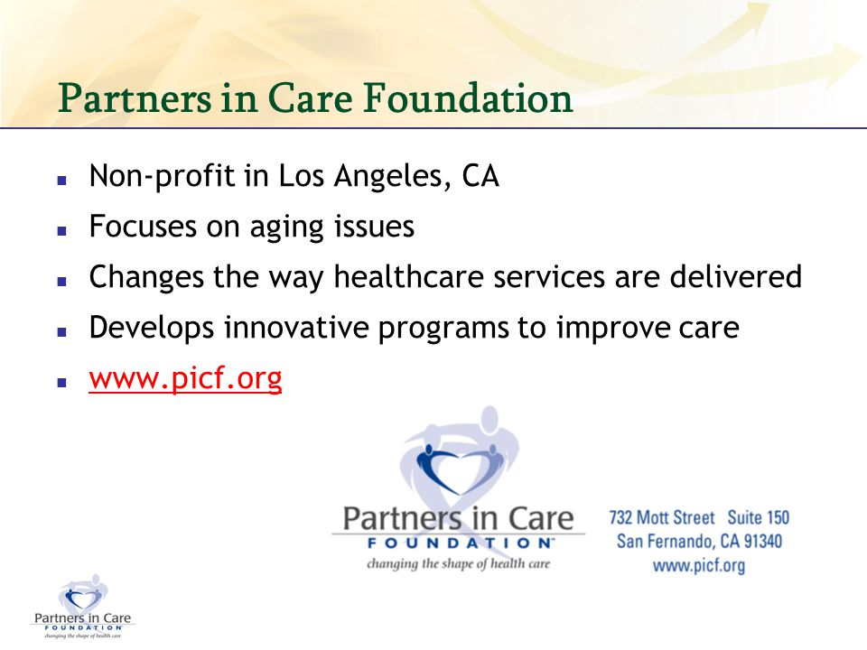 Partners in Care Foundation Non-profit in Los Angeles, CA Focuses on aging issues Changes the way healthcare services are delivered Develops innovativ