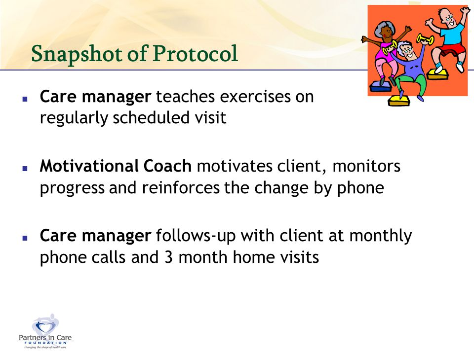 Snapshot of Protocol Care manager teaches exercises on regularly scheduled visit Motivational Coach motivates client, monitors progress and reinforces