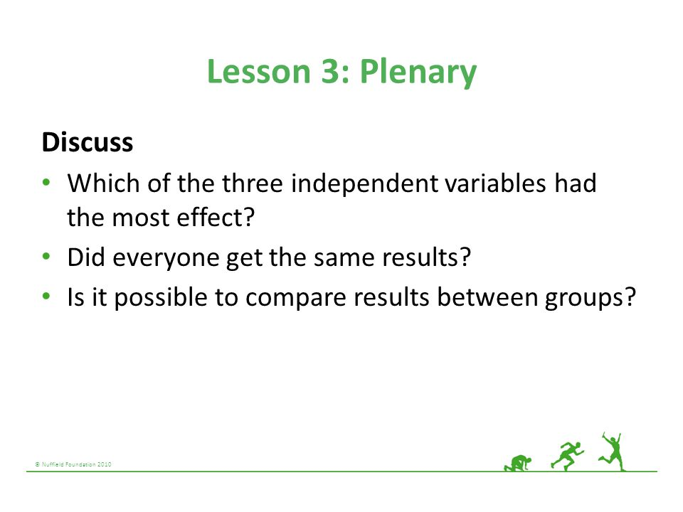 © Nuffield Foundation 2010 Lesson 3: Plenary Discuss Which of the three independent variables had the most effect? Did everyone get the same results?