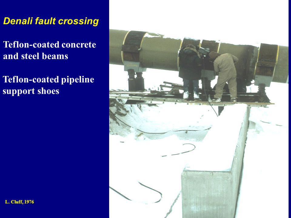 Denali fault crossing Teflon-coated concrete and steel beams Teflon-coated pipeline support shoes L.