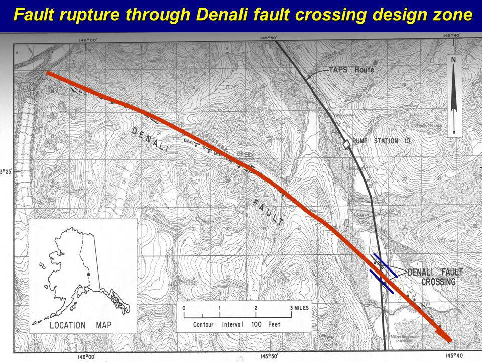 Fault rupture through Denali fault crossing design zone