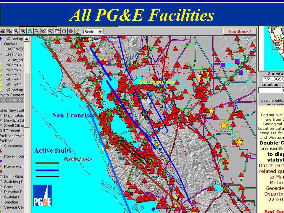 Monterey Bay San Francisco Sacramento Active faults All PG&E Facilities