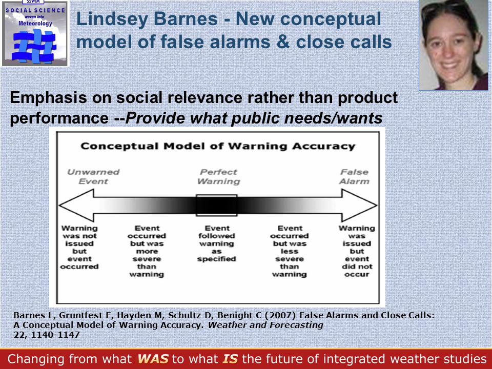 Emphasis on social relevance rather than product performance --Provide what public needs/wants Lindsey Barnes - New conceptual model of false alarms & close calls Barnes L, Gruntfest E, Hayden M, Schultz D, Benight C (2007) False Alarms and Close Calls: A Conceptual Model of Warning Accuracy.