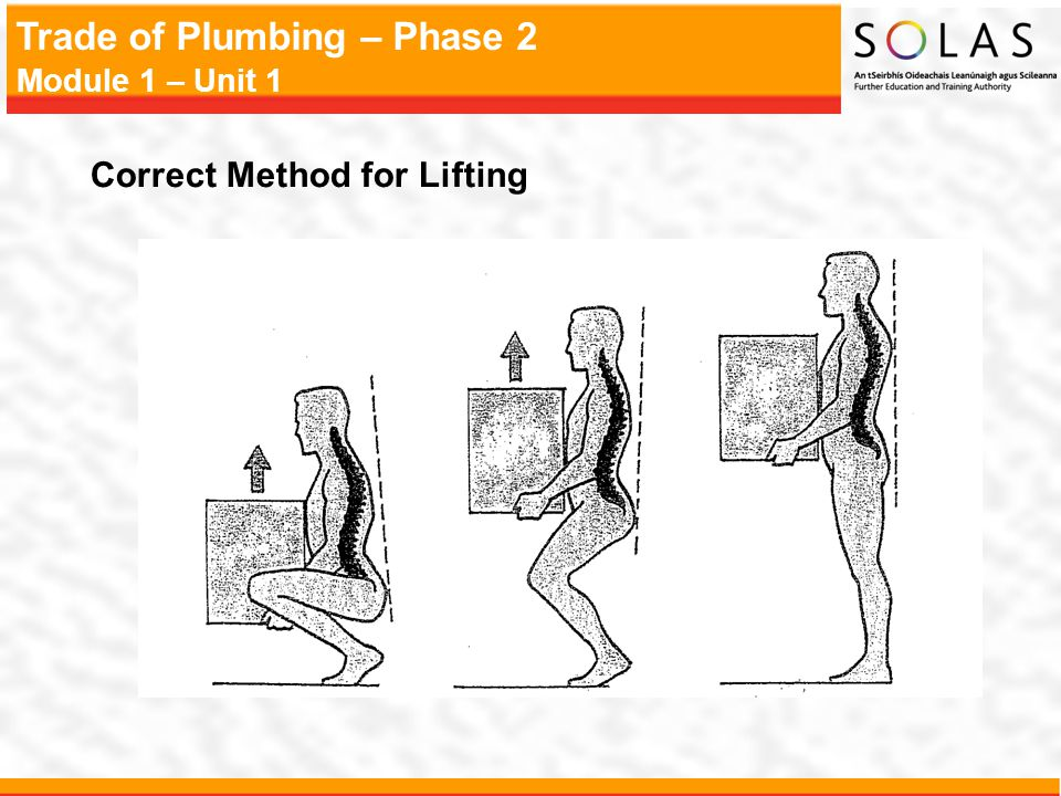 Trade of Plumbing – Phase 2 Module 1 – Unit 1 Correct Method for Lifting