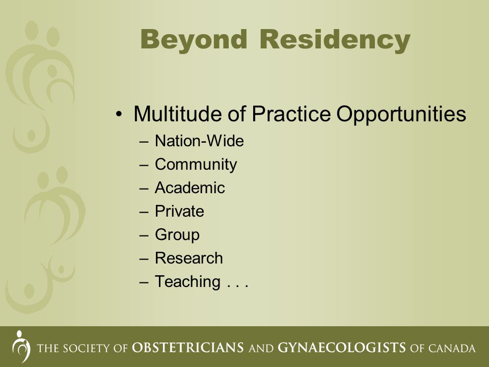 Beyond Residency Multitude of Practice Opportunities –Nation-Wide –Community –Academic –Private –Group –Research –Teaching...