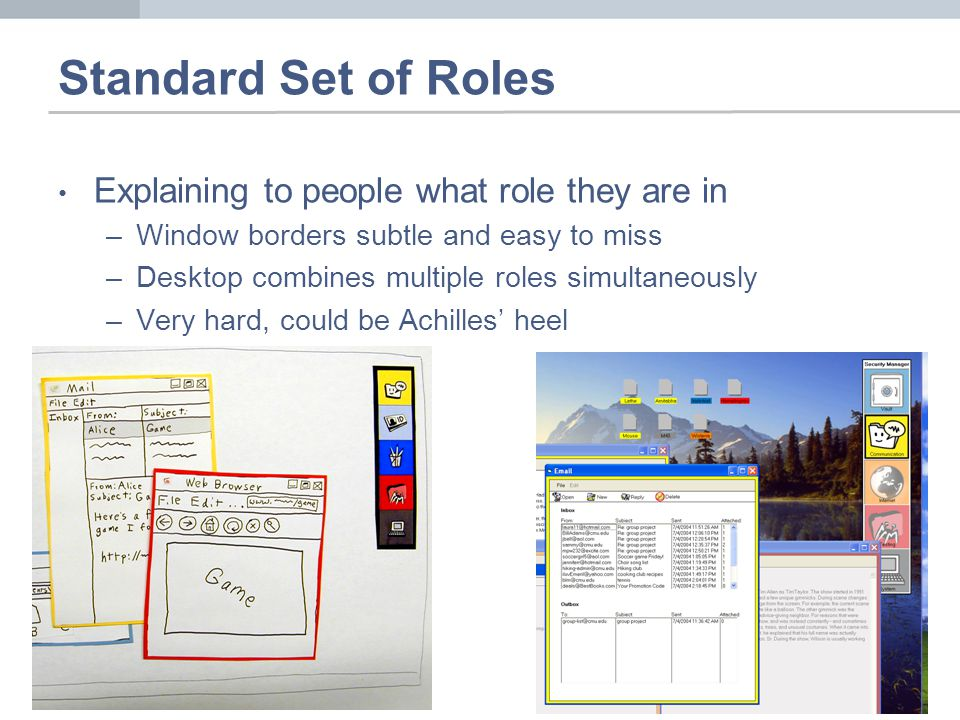 Standard Set of Roles Explaining to people what role they are in –Window borders subtle and easy to miss –Desktop combines multiple roles simultaneously –Very hard, could be Achilles heel