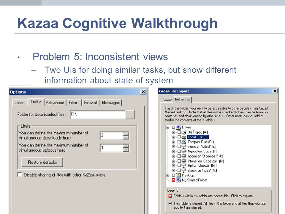 Kazaa Cognitive Walkthrough Problem 5: Inconsistent views –Two UIs for doing similar tasks, but show different information about state of system