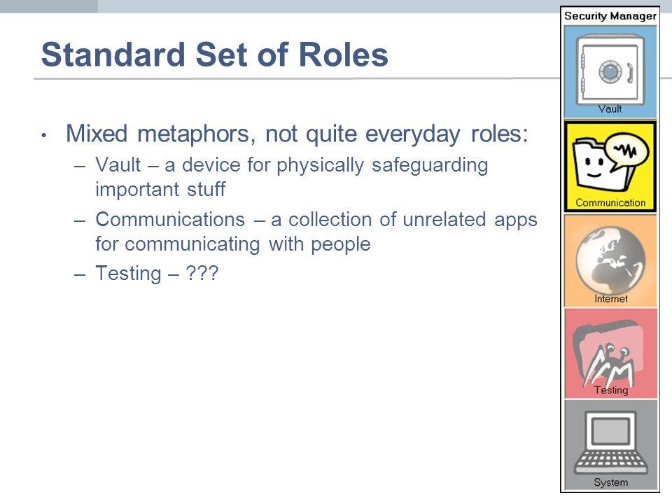Standard Set of Roles Mixed metaphors, not quite everyday roles: –Vault – a device for physically safeguarding important stuff –Communications – a col