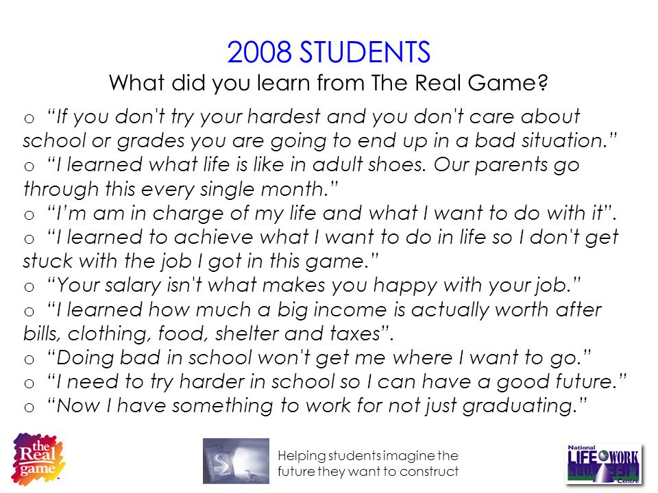 Helping students imagine the future they want to construct 2008 STUDENTS What did you learn from The Real Game.
