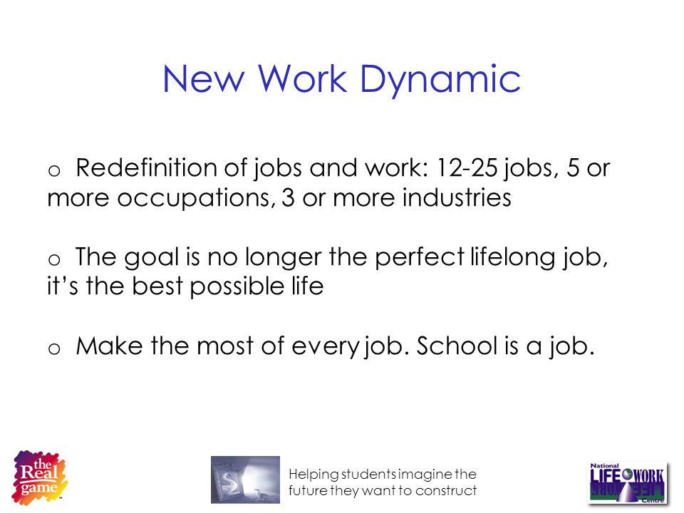 Helping students imagine the future they want to construct New Work Dynamic o Redefinition of jobs and work: 12-25 jobs, 5 or more occupations, 3 or more industries o The goal is no longer the perfect lifelong job, its the best possible life o Make the most of every job.