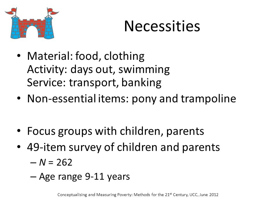 Necessities Material: food, clothing Activity: days out, swimming Service: transport, banking Non-essential items: pony and trampoline Focus groups wi