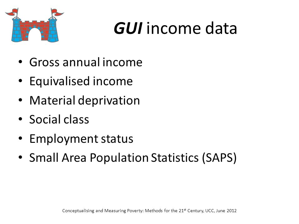 GUI income data Gross annual income Equivalised income Material deprivation Social class Employment status Small Area Population Statistics (SAPS) Con