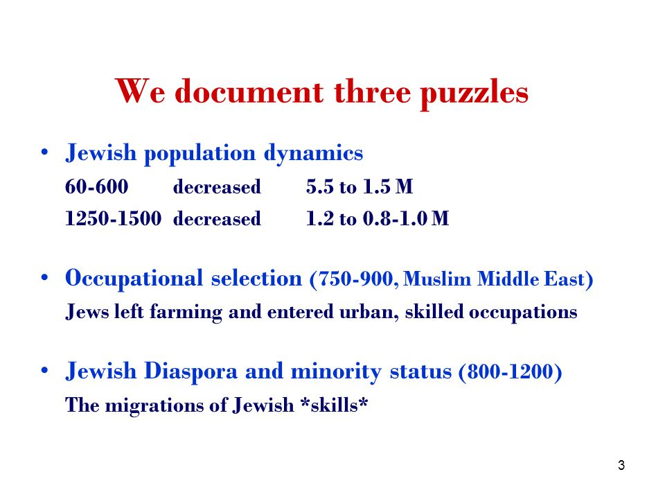 64 No evidence they migrated in huge numbers to western Europe (migrations to Europe were regulated) Death rate from starvation and epidemics similar to local population Jewish death toll from massacres by Mongols was lower The much larger reduction in Jewish population in Muslim Middle East was the outcome of voluntary conversions Conversions among low-income Jews when the economy became a subsistence farming economy support our main insight