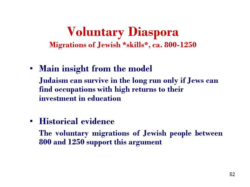 52 Voluntary Diaspora Migrations of Jewish *skills*, ca.