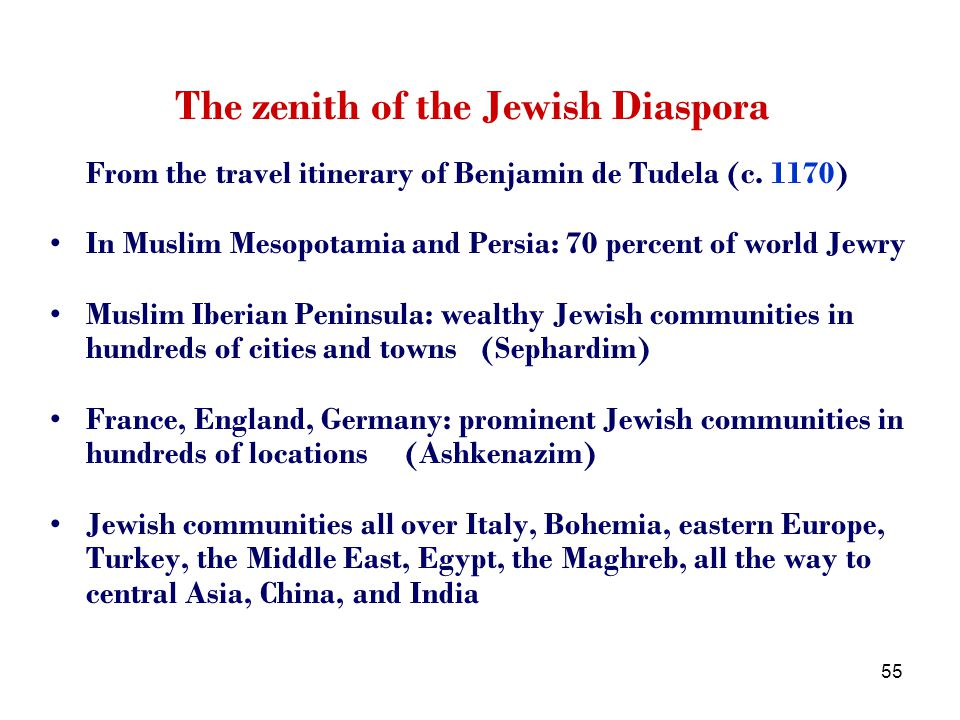 55 The zenith of the Jewish Diaspora From the travel itinerary of Benjamin de Tudela (c.