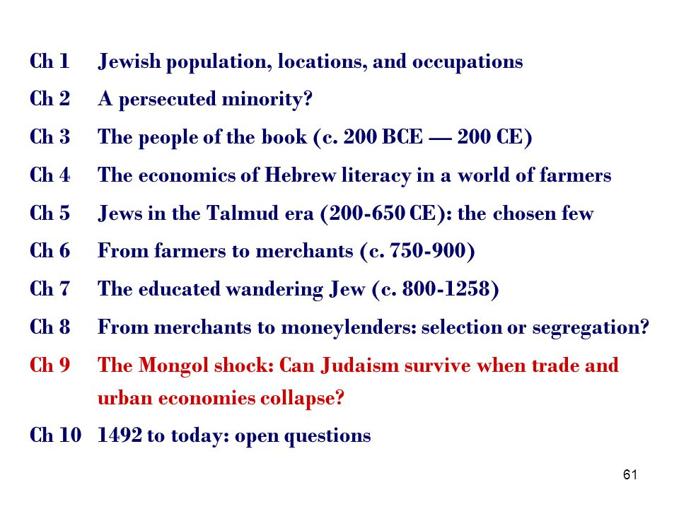61 Ch 1Jewish population, locations, and occupations Ch 2A persecuted minority.