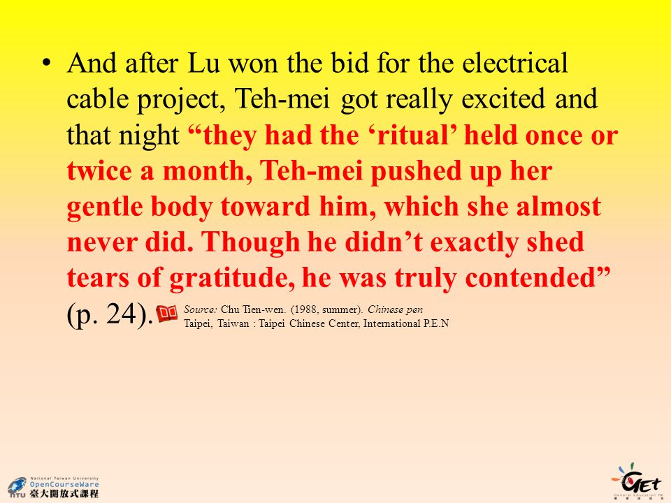 And after Lu won the bid for the electrical cable project, Teh-mei got really excited and that night they had the ritual held once or twice a month, Teh-mei pushed up her gentle body toward him, which she almost never did.
