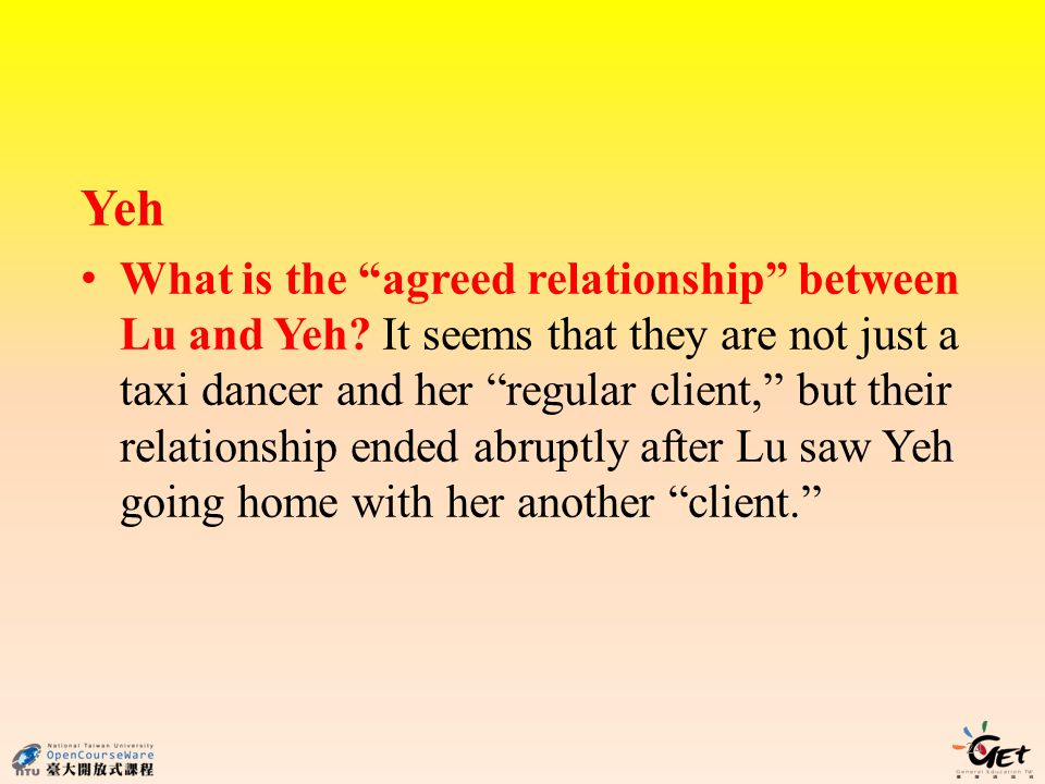Yeh What is the agreed relationship between Lu and Yeh.