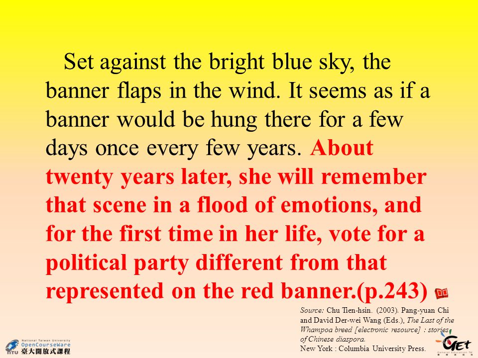 Set against the bright blue sky, the banner flaps in the wind.