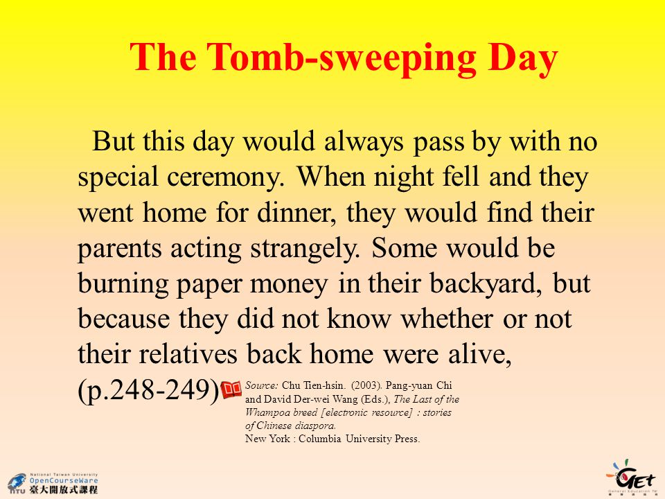 The Tomb-sweeping Day 56 But this day would always pass by with no special ceremony. When night fell and they went home for dinner, they would find th