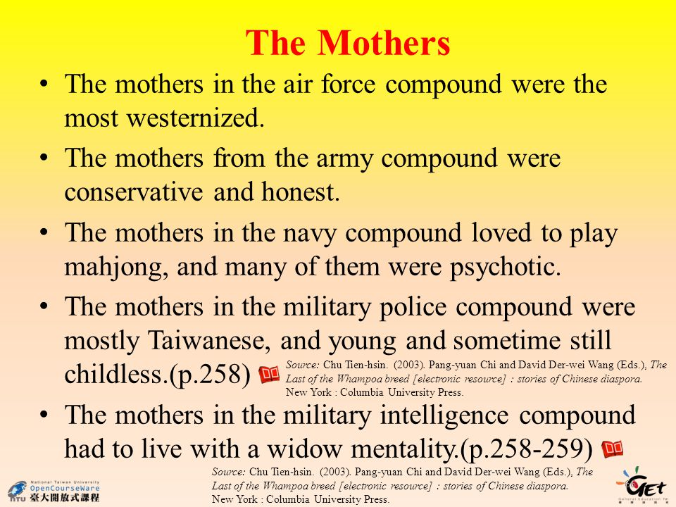 The Mothers 66 The mothers in the air force compound were the most westernized. The mothers from the army compound were conservative and honest. The m