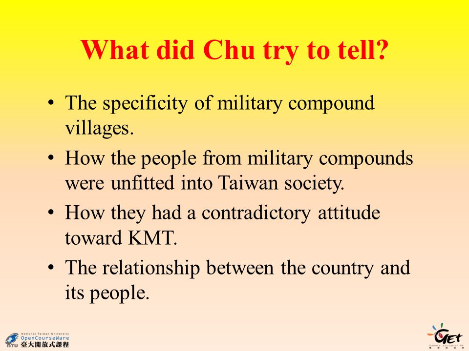 What did Chu try to tell. 69 The specificity of military compound villages.