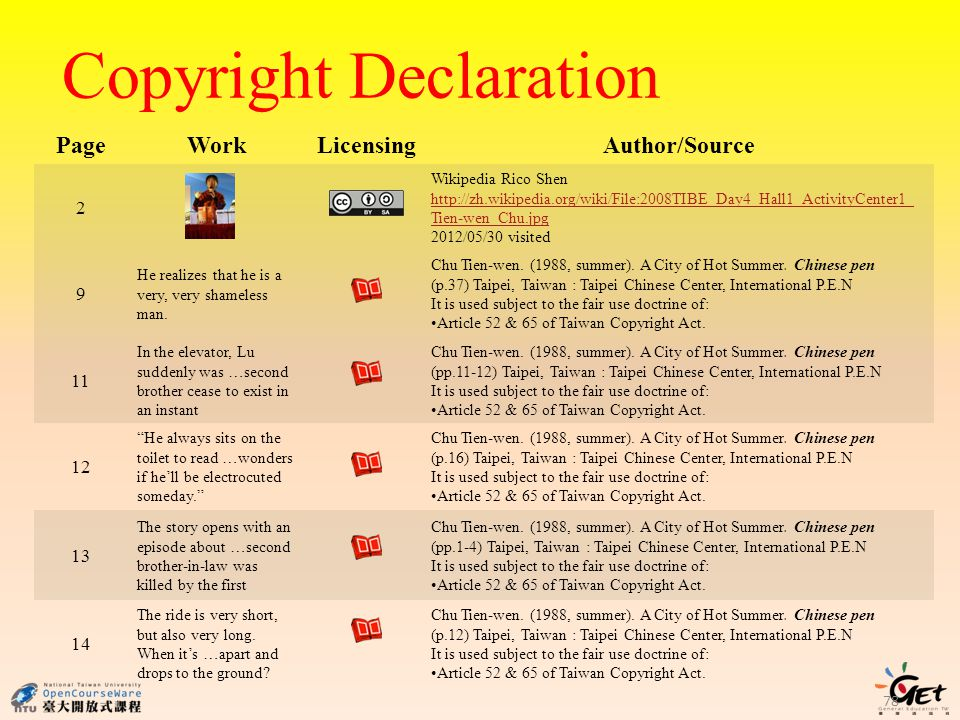 Copyright Declaration PageWork LicensingAuthor/Source 2 Wikipedia Rico Shen http://zh.wikipedia.org/wiki/File:2008TIBE_Day4_Hall1_ActivityCenter1_ Tien-wen_Chu.jpg 2012/05/30 visited 9 He realizes that he is a very, very shameless man.