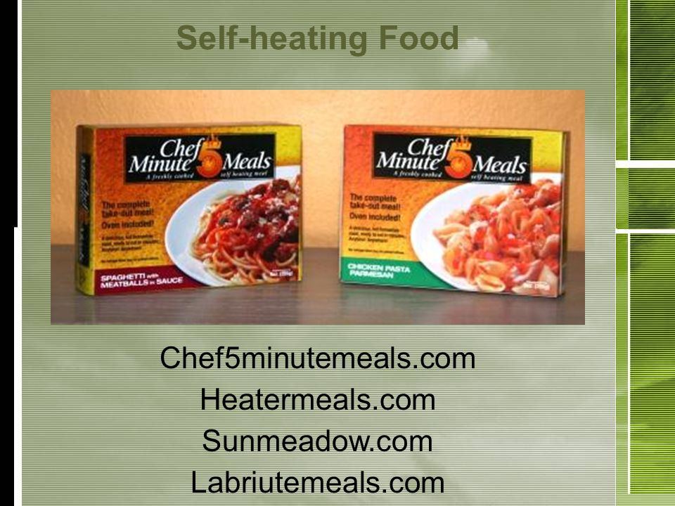 Self-heating Food Chef5minutemeals.com Heatermeals.com Sunmeadow.com Labriutemeals.com
