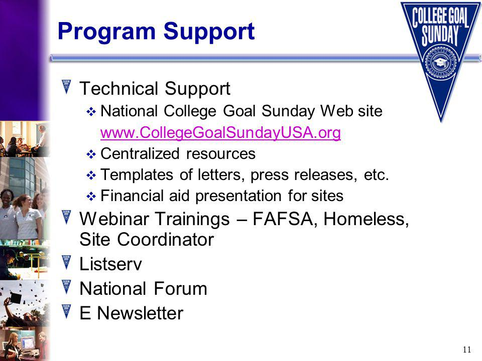 11 Program Support Technical Support National College Goal Sunday Web site www.CollegeGoalSundayUSA.org Centralized resources Templates of letters, press releases, etc.