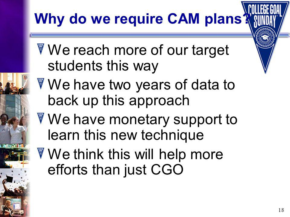 18 Why do we require CAM plans.