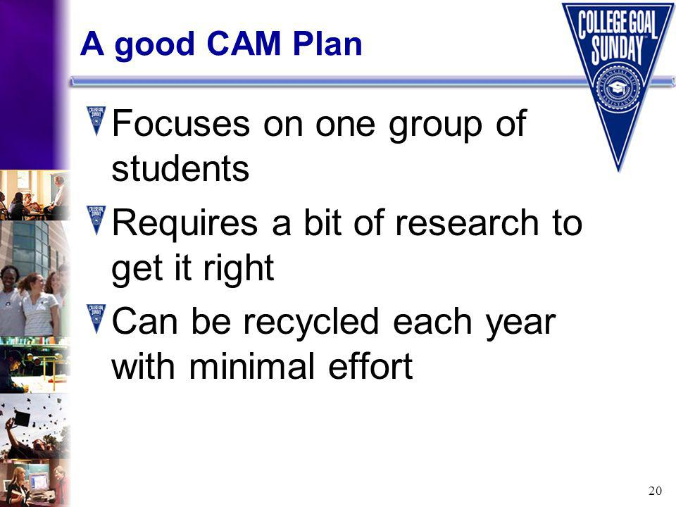 20 A good CAM Plan Focuses on one group of students Requires a bit of research to get it right Can be recycled each year with minimal effort