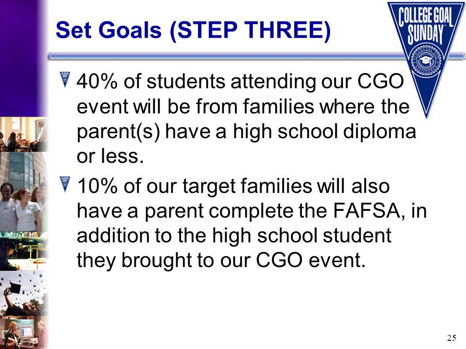 25 Set Goals (STEP THREE) 40% of students attending our CGO event will be from families where the parent(s) have a high school diploma or less.