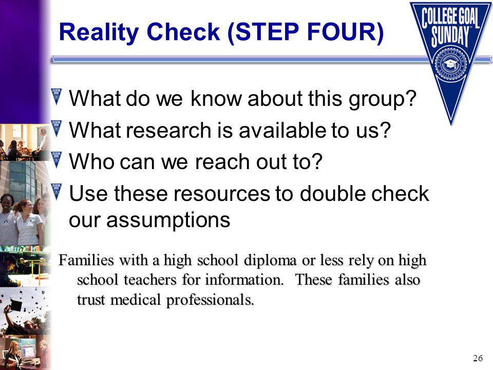 26 Reality Check (STEP FOUR) What do we know about this group.