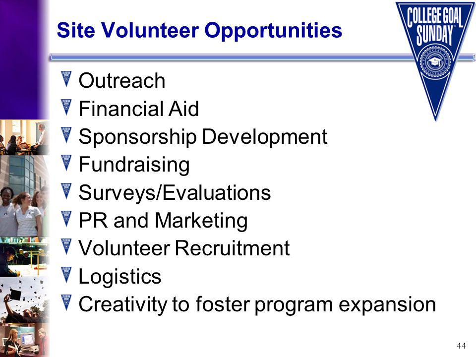 44 Site Volunteer Opportunities Outreach Financial Aid Sponsorship Development Fundraising Surveys/Evaluations PR and Marketing Volunteer Recruitment Logistics Creativity to foster program expansion