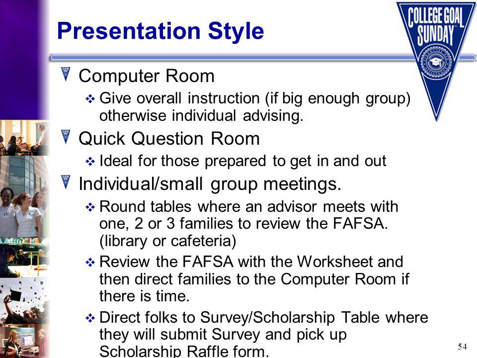 54 Presentation Style Computer Room Give overall instruction (if big enough group) otherwise individual advising.