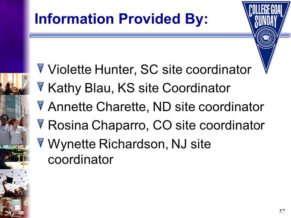 57 Information Provided By: Violette Hunter, SC site coordinator Kathy Blau, KS site Coordinator Annette Charette, ND site coordinator Rosina Chaparro, CO site coordinator Wynette Richardson, NJ site coordinator