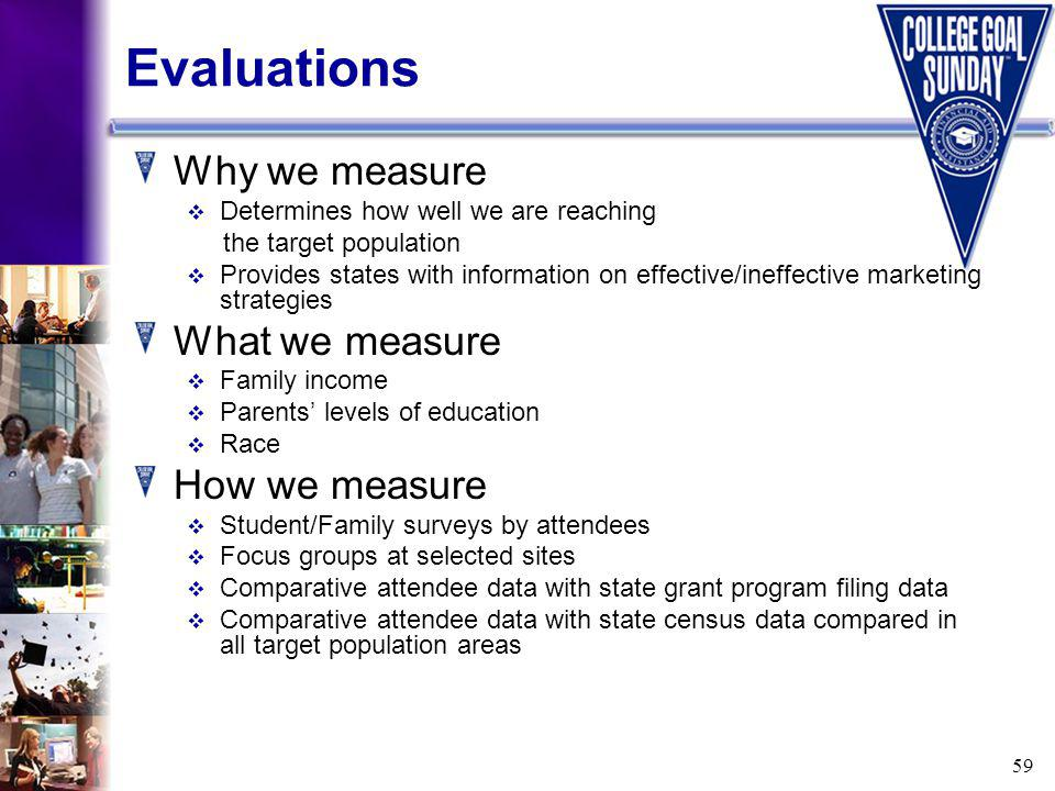 59 Evaluations Why we measure Determines how well we are reaching the target population Provides states with information on effective/ineffective marketing strategies What we measure Family income Parents levels of education Race How we measure Student/Family surveys by attendees Focus groups at selected sites Comparative attendee data with state grant program filing data Comparative attendee data with state census data compared in all target population areas