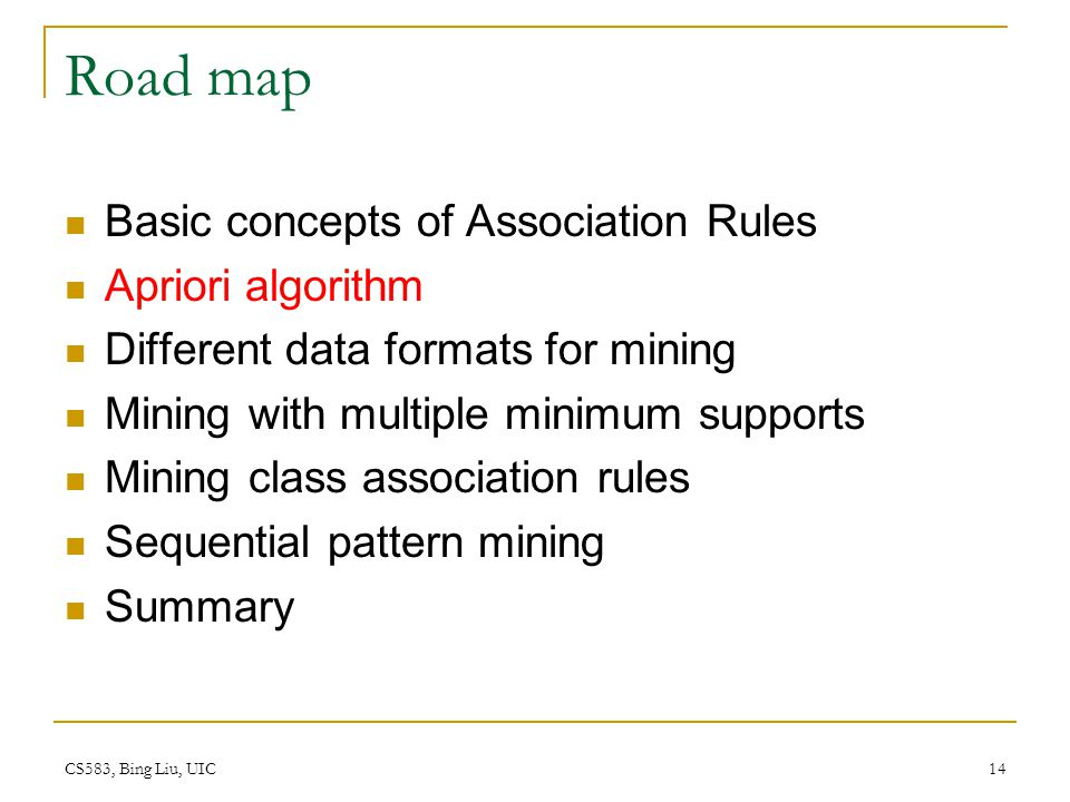CS583, Bing Liu, UIC 14 Road map Basic concepts of Association Rules Apriori algorithm Different data formats for mining Mining with multiple minimum supports Mining class association rules Sequential pattern mining Summary