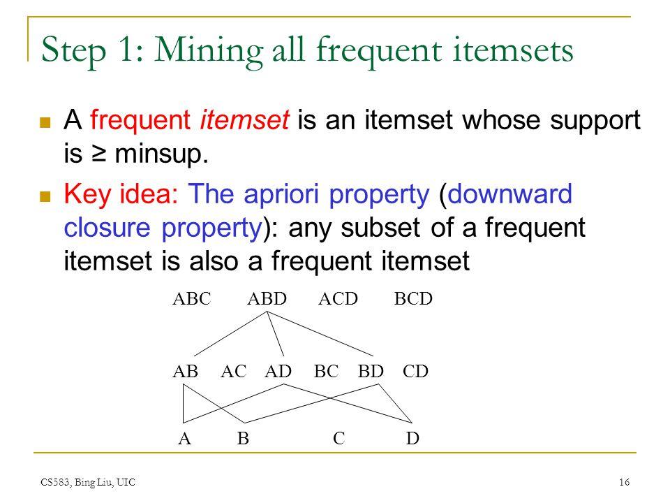 CS583, Bing Liu, UIC 16 Step 1: Mining all frequent itemsets A frequent itemset is an itemset whose support is minsup.