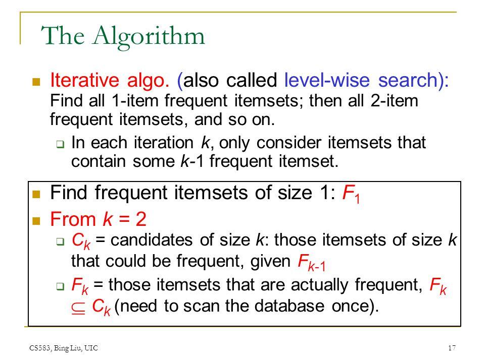 CS583, Bing Liu, UIC 17 The Algorithm Iterative algo.